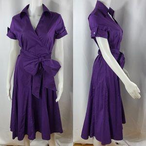 ⬇️$395 Sandro Paris Purple Collared Wrap Dress